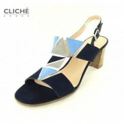 Modré sandálky na podpatku...