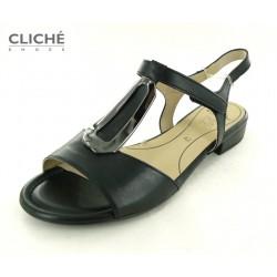 Černé sandále, hladká kůže,...