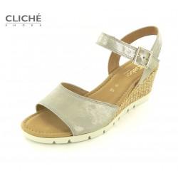 Metalické sandálky na klínu...
