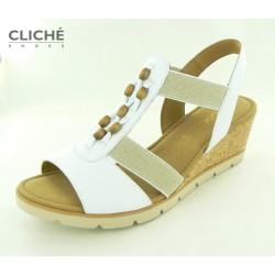 Bílé sandálky na korkovém...