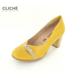 Žluté komfortní kožené...