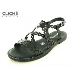 Černé sandálky, nadměrné,...