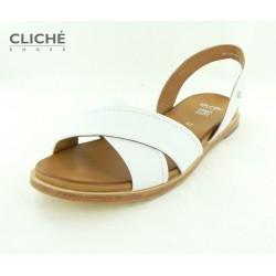 Bílé sandále, hladká kůže,...