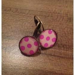 Náušnice mosaz, růžové puntíky