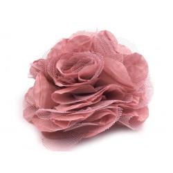 Brož květ, šifon, růžová