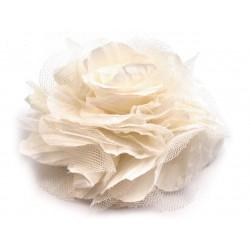 Brož květ, šifon, vanilková