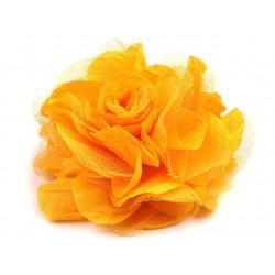Brož květ, šifon, žlutá