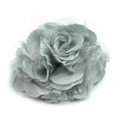 Brož květ, šifon, šedá