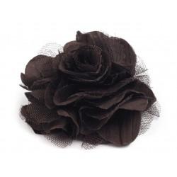 Brož květ, šifon, tmavě hnědá