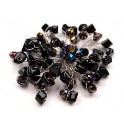 Brož z kamínků, černá