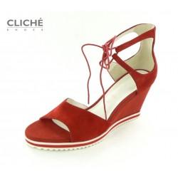 Červené sandálky na klínu,...